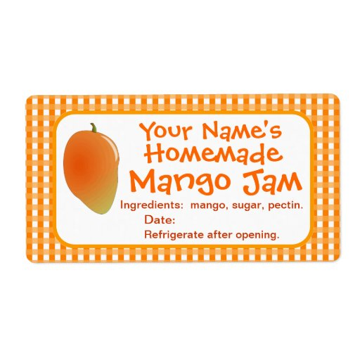 Personalized mango jam canning jar labels stickers zazzle for Chutney label templates