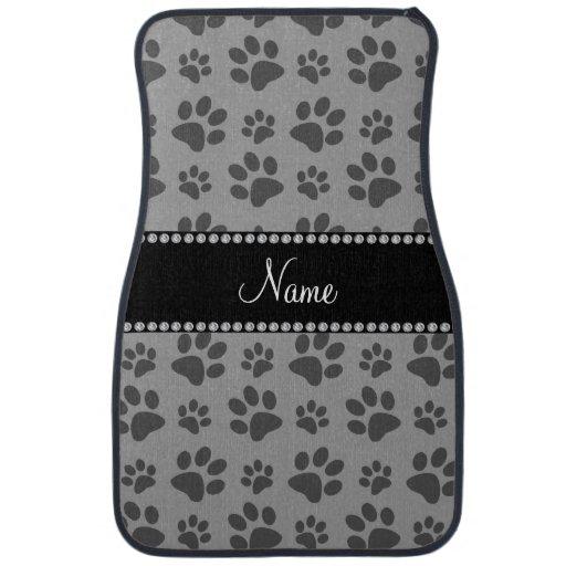 Personalized Name Grey Dog Paw Prints Car Floor Mat Zazzle