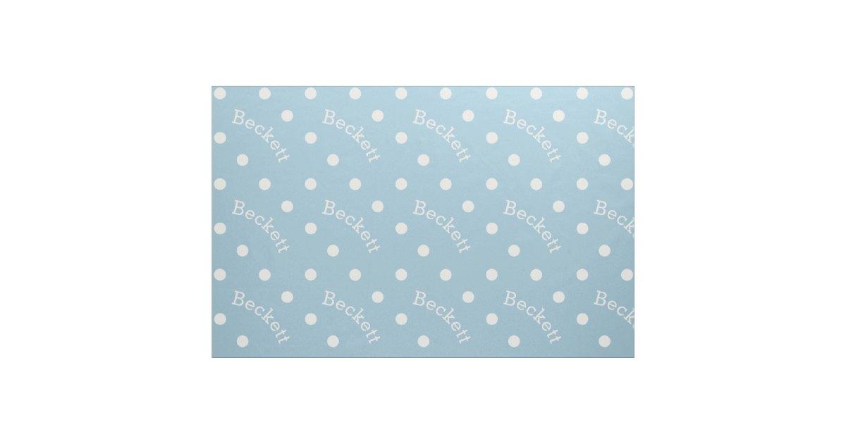 Personalized Name Light Baby Blue Polka Dot Fabric Zazzle