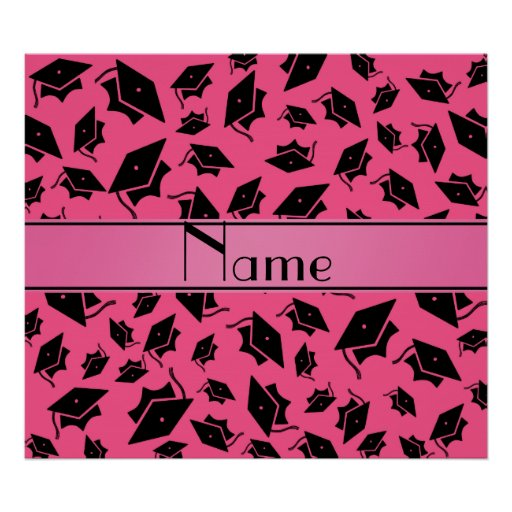 Personalized Name Pink Graduation Cap Poster