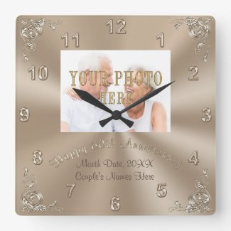 PERSONALIZED PHOTO 60th Wedding Anniversary Clock