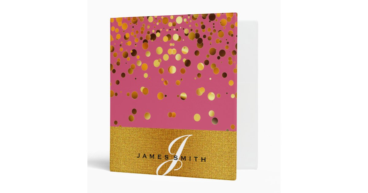 Personalized Pink And Gold Faux Confetti Glitter Binder
