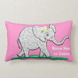 Personalized Pink Baby Elephant Pillows Your Color