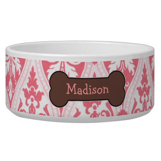 Personalized Pink Damask Dog Food Bowl | Zazzle - photo#19