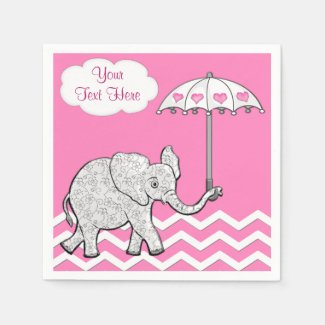 PERSONALIZED Pink ELEPHANT Baby Shower Napkins