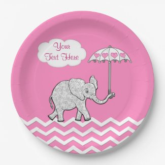 Personalized Pink Elephant Baby Shower Plates 9 Inch Paper Plate