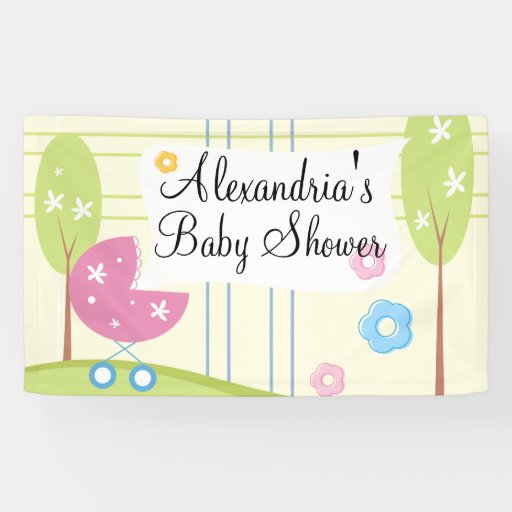 Baby Shower Custom Banners: Personalized Pink Green Girl Baby Shower Banner
