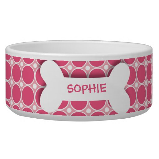 Personalized pink polkadots dog bone pet food bowl | Zazzle - photo#17
