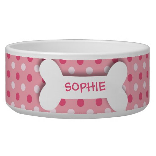 Personalized pink polkadots dog bone pet food bowl dog ... - photo#31