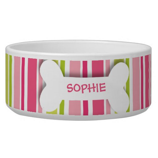 Personalized pink stripes dog bone pet food bowl | Zazzle - photo#11