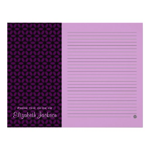 Personalized Papers Executive Stationery: Personalized Purple Lined Note Paper Stationery Letterhead