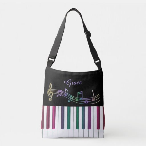 Personalized Rainbow Piano Music Tote Bag for Student or Teacher
