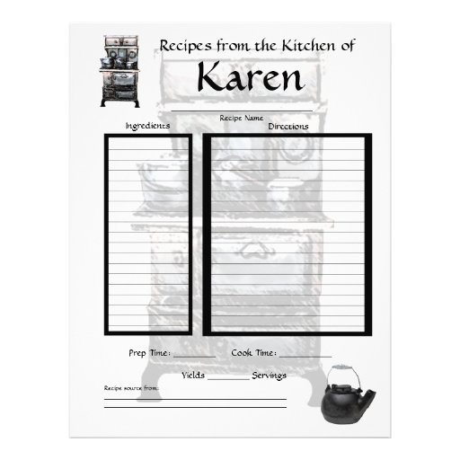 27 Personalized Stationery Templates: Personalized Recipe Page Letterhead Template