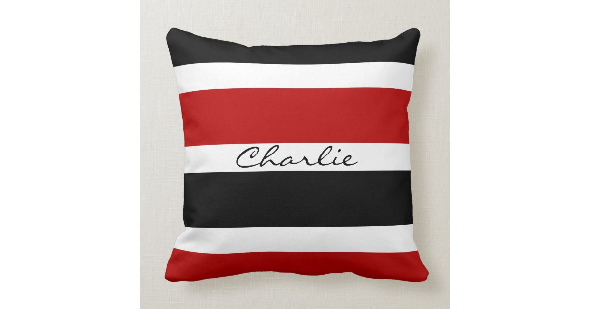 Personalized Red, Black, And White Stripes Throw Pillow