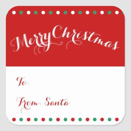 Personalized Christmas Gift Tags: Personalized Red White Square Christmas Gift Tags Square