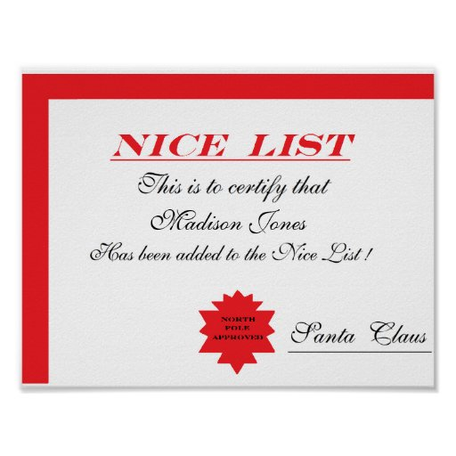 """Personalized Santa's """"Nice List"""" Certificate Poster"""