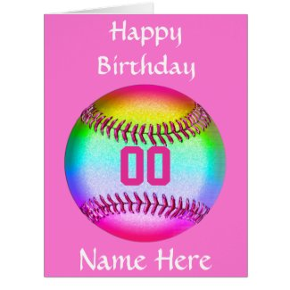 PERSONALIZED Softball Birthday Card, Name, Number