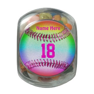 Personalized Softball Candy Jar w/ NAME and NUMBER Glass Jars