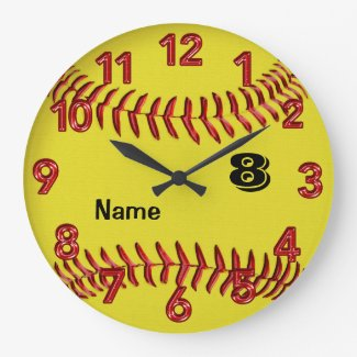 Personalized Softball Clock with NUMBER and NAME