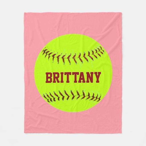 Personalized Softball Fleece Blanket Zazzle