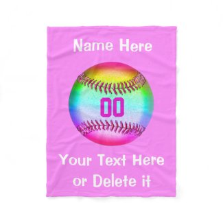 Personalized Softball Fleece Blanket