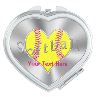 Personalized Softball Gifts for Girls Team Compact Mirrors