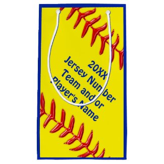 Personalized Softball Goodie Bags in 4 Sizes Small Gift Bag