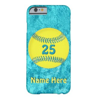 PERSONALIZED Softball iPhone 6 Cases Turquoise
