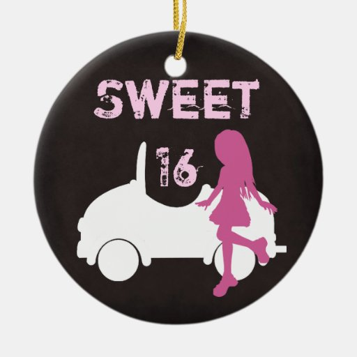 Shepherd Gold On Blue Silhouette Ornament: Personalized Sweet 16 Silhouette Girl With Car Double