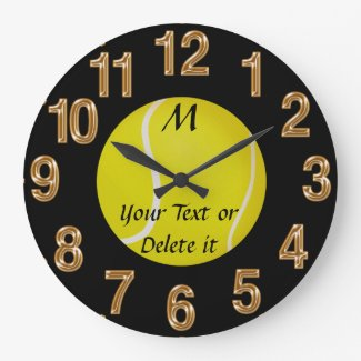 Personalized Tennis Clock MONOGRAM and YOUR TEXT