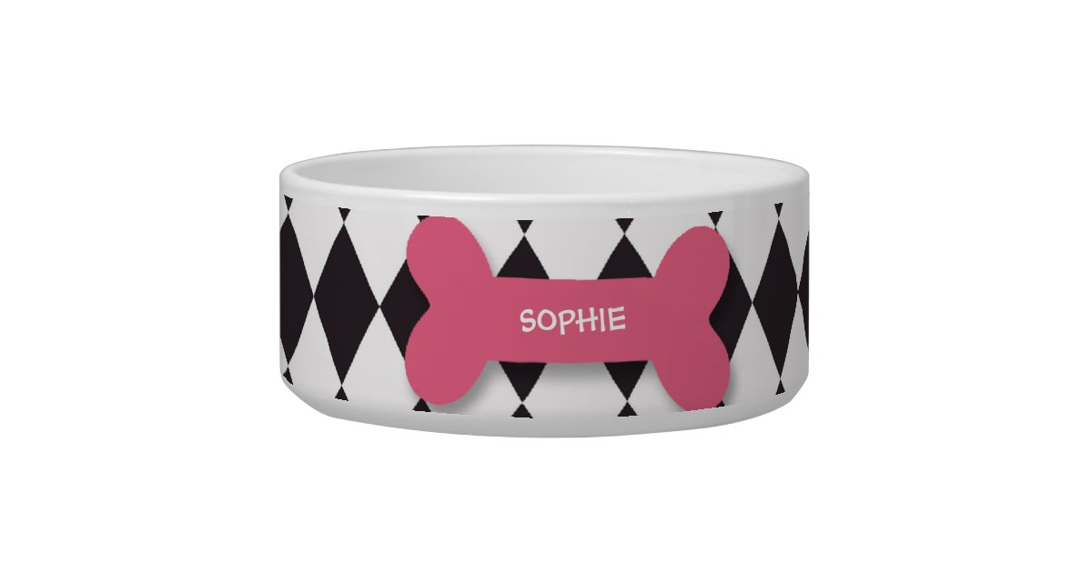 Personalized trendy pink dog bone pet food bowl | Zazzle - photo#26