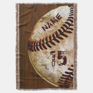 Personalized Vintage Baseball Blankets Name Number Throw Blanket CLICK HERE