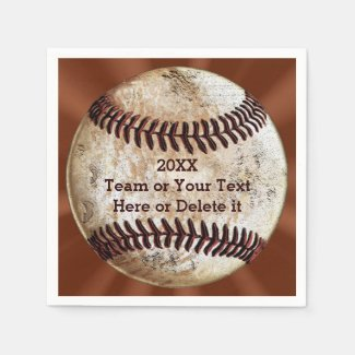 Personalized Vintage Baseball Napkins YOUR TEXT Standard Cocktail Napkin