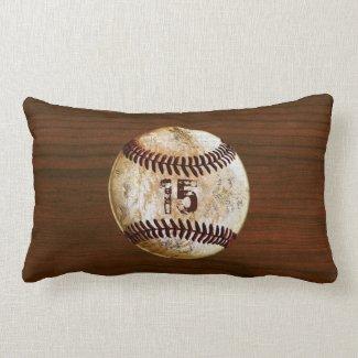 Personalized Vintage Baseball Throw Pillows Lumbar