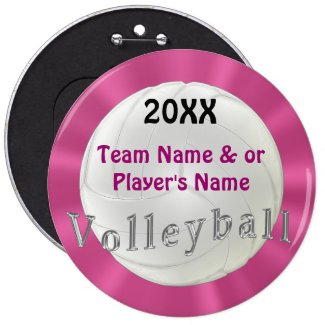 Personalized Volleyball Buttons YEAR, TEAM NAME