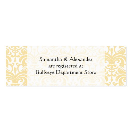 Personalized Wedding Gift Registry Cards Insert Double