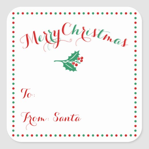 Personalized Christmas Gift Tags: Personalized White Square Christmas Gift Tags Square