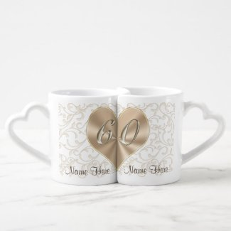 Personlized 60th Wedding Anniversary Lovers Mugs Couples' Coffee Mug Set