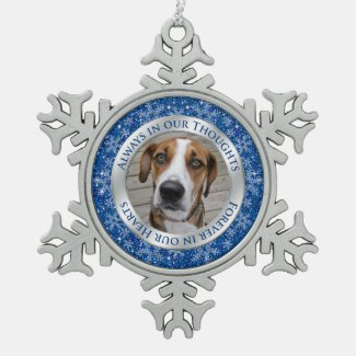 Pet Dog Customizable Memorial Photo Snowflake Pewter Christmas Ornament