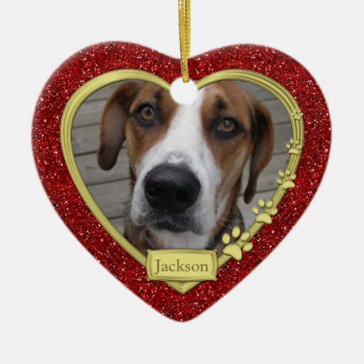 Pet Dog Memorial Photo Christmas Ornament - heart | Zazzle