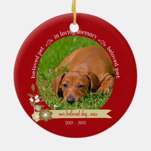 Pet Memorial at Christmas custom photo name Ceramic ...