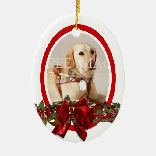 Pet Memorial Photo Red PERSONALIZE Ceramic Ornament