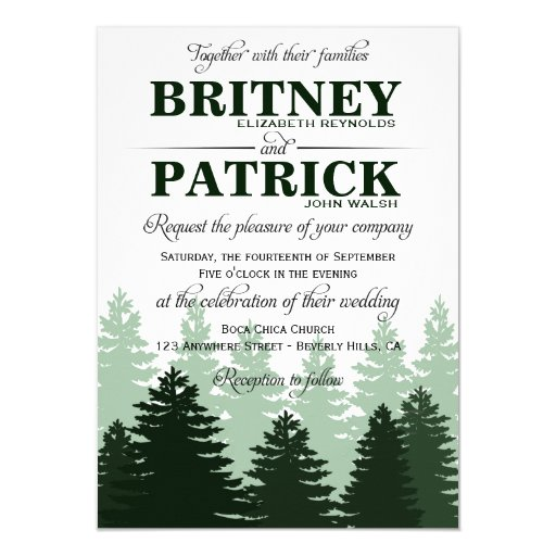 Forest Themed Wedding Invitations: Pine Green Enchanted Forest Wedding Invitations