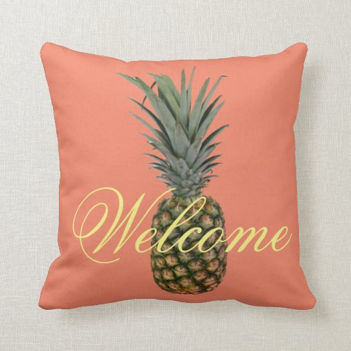 Pineapple Welcome Throw Pillow Zazzle