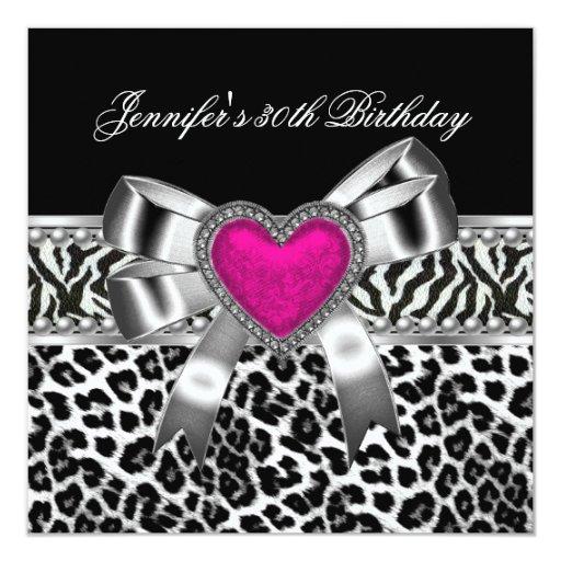 Pink 30th Birthday Party Zebra Black Leopard Card