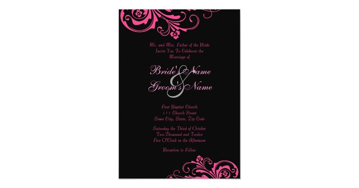 Pink And Black Wedding Invitations: Pink And Black Chic Wedding Invitation