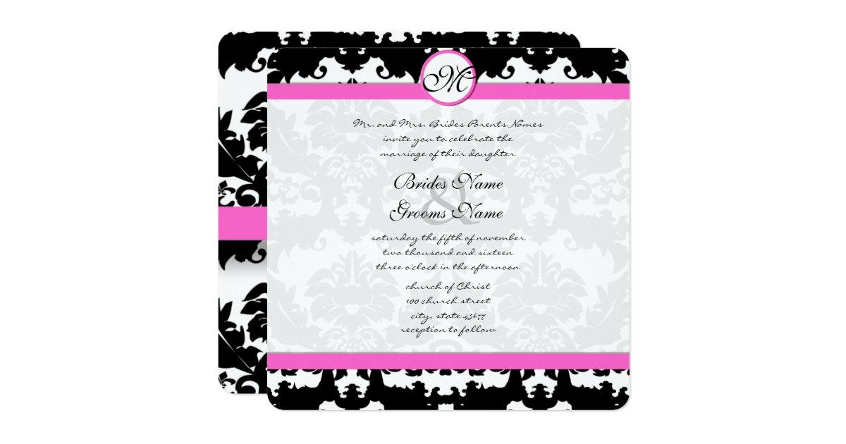 Pink And Black Wedding Invitations: Pink And Black Damask Swirls Wedding Invitation