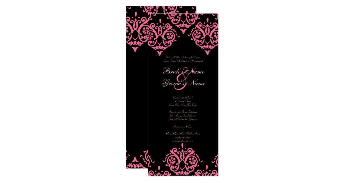 Black Pink Wedding Invitations: Pink And Black Damask Wedding Invitation