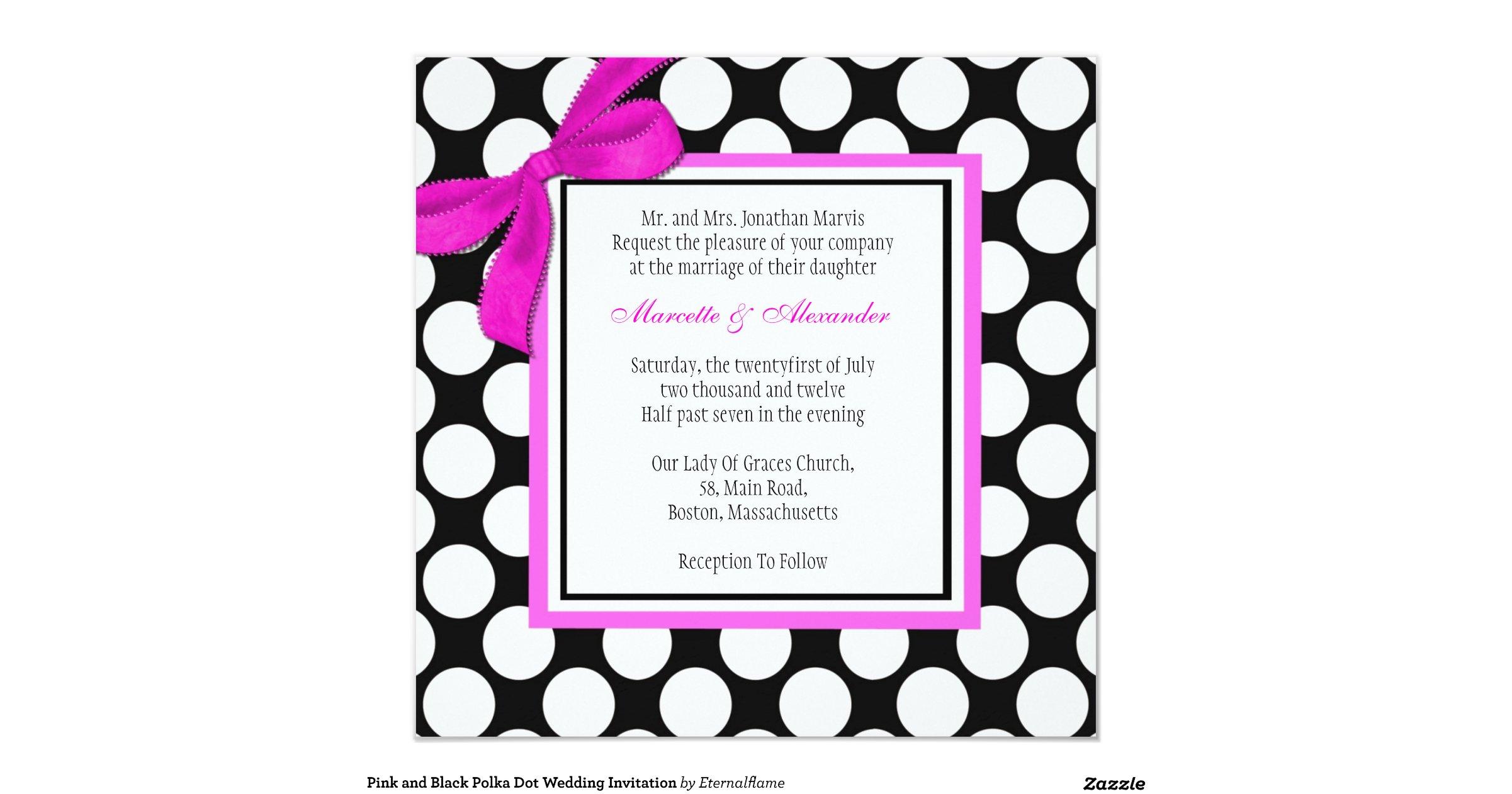Pink And Black Wedding Invitations: Pink_and_black_polka_dot_wedding_invitation