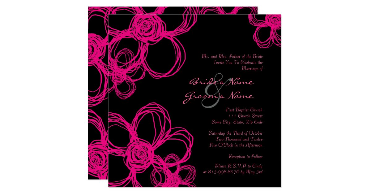 Pink And Black Wedding Invitations: Pink And Black Wild Flowers Wedding Invitation
